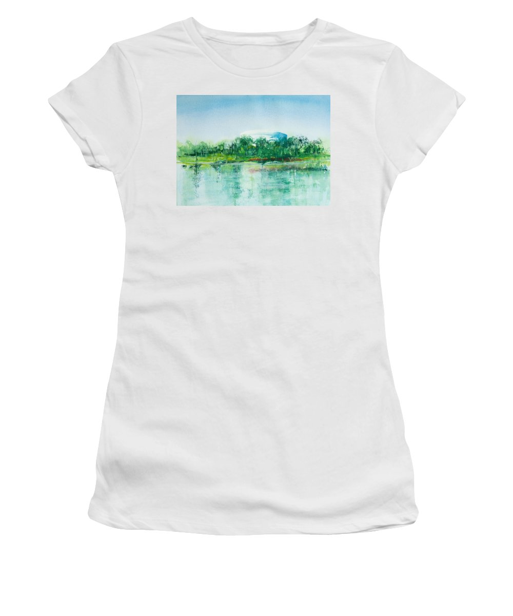 Watercolor Women's T-Shirt featuring the painting Long Beach Convention Center Arena by Debbie Lewis