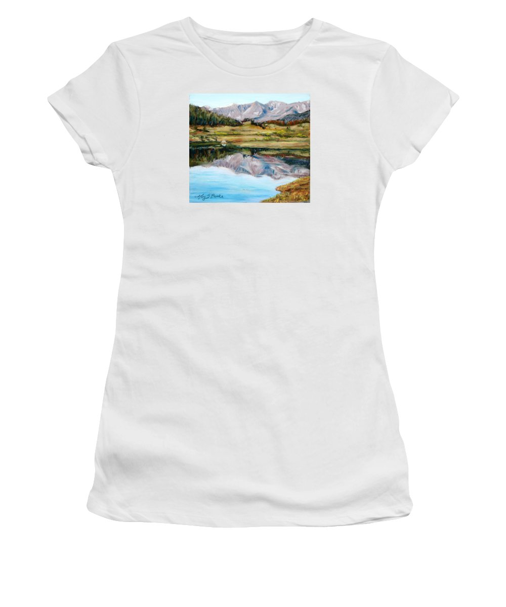 Long Draw Reservoir Women's T-Shirt (Athletic Fit) featuring the painting Long Draw Reservoir by Mary Benke