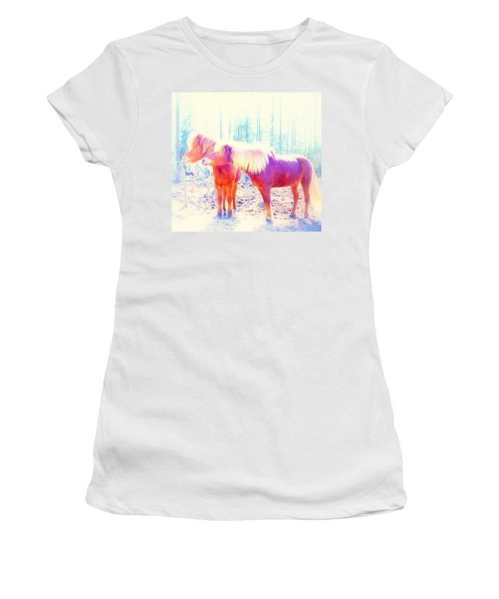 Horse Women's T-Shirt featuring the photograph Look At Me Babe And Give Me That Kiss Right Now  by Hilde Widerberg