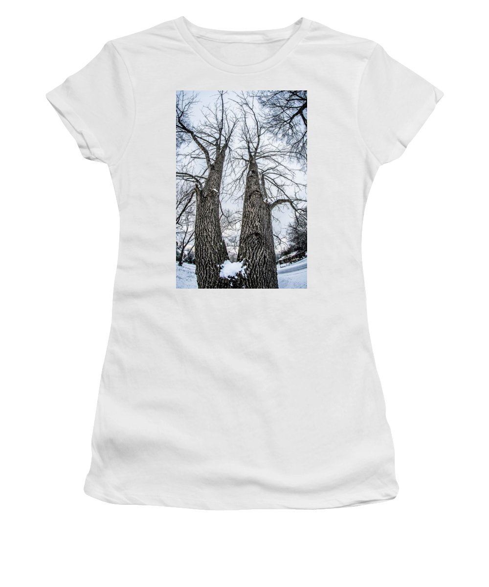 Looking Women's T-Shirt (Athletic Fit) featuring the photograph Looking At Tree Tops After A Winter Snow Storm by Alex Grichenko