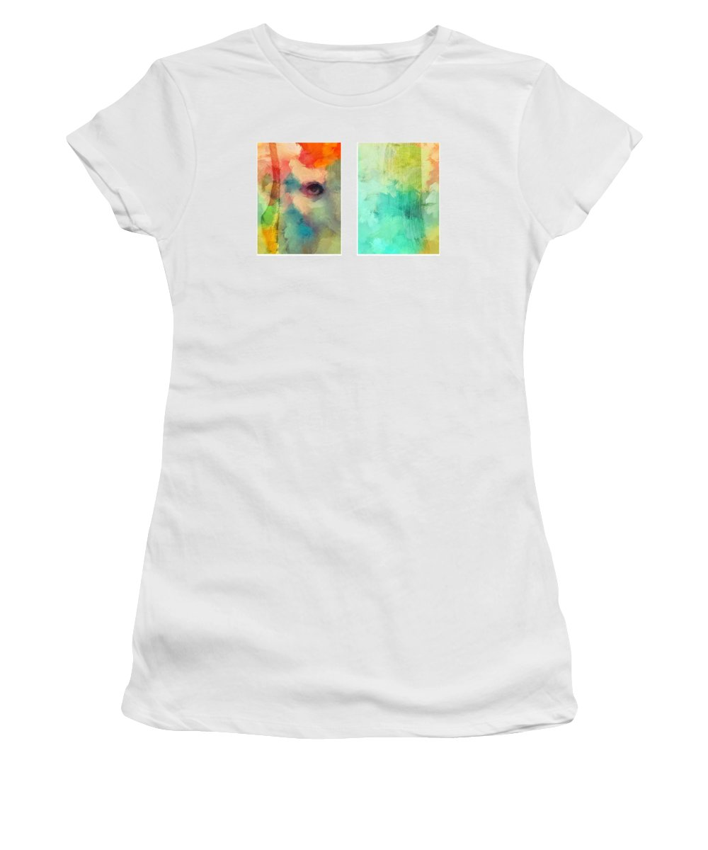 Look Eye Face Abstract Expressionism Color Colorful Woman Girl Female Outside Soul Women's T-Shirt featuring the painting Looking From Outside by Steve K