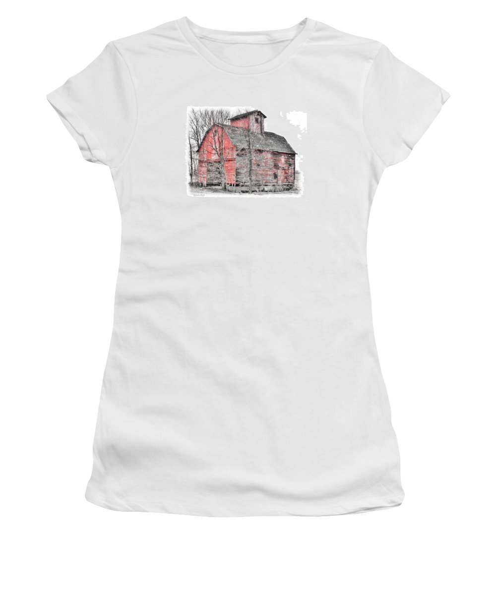 Abandoned Rural Country Farm Barn Crib Decay Ruins Women's T-Shirt (Athletic Fit) featuring the photograph Lost Crib by David Horst