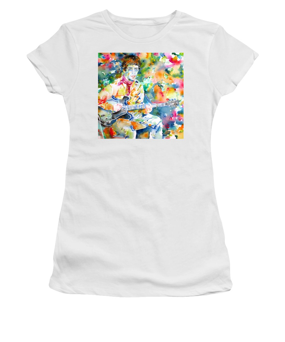 Lou Reed Women's T-Shirt (Athletic Fit) featuring the painting Lou Reed Playing The Guitar - Watercolor Portrait by Fabrizio Cassetta