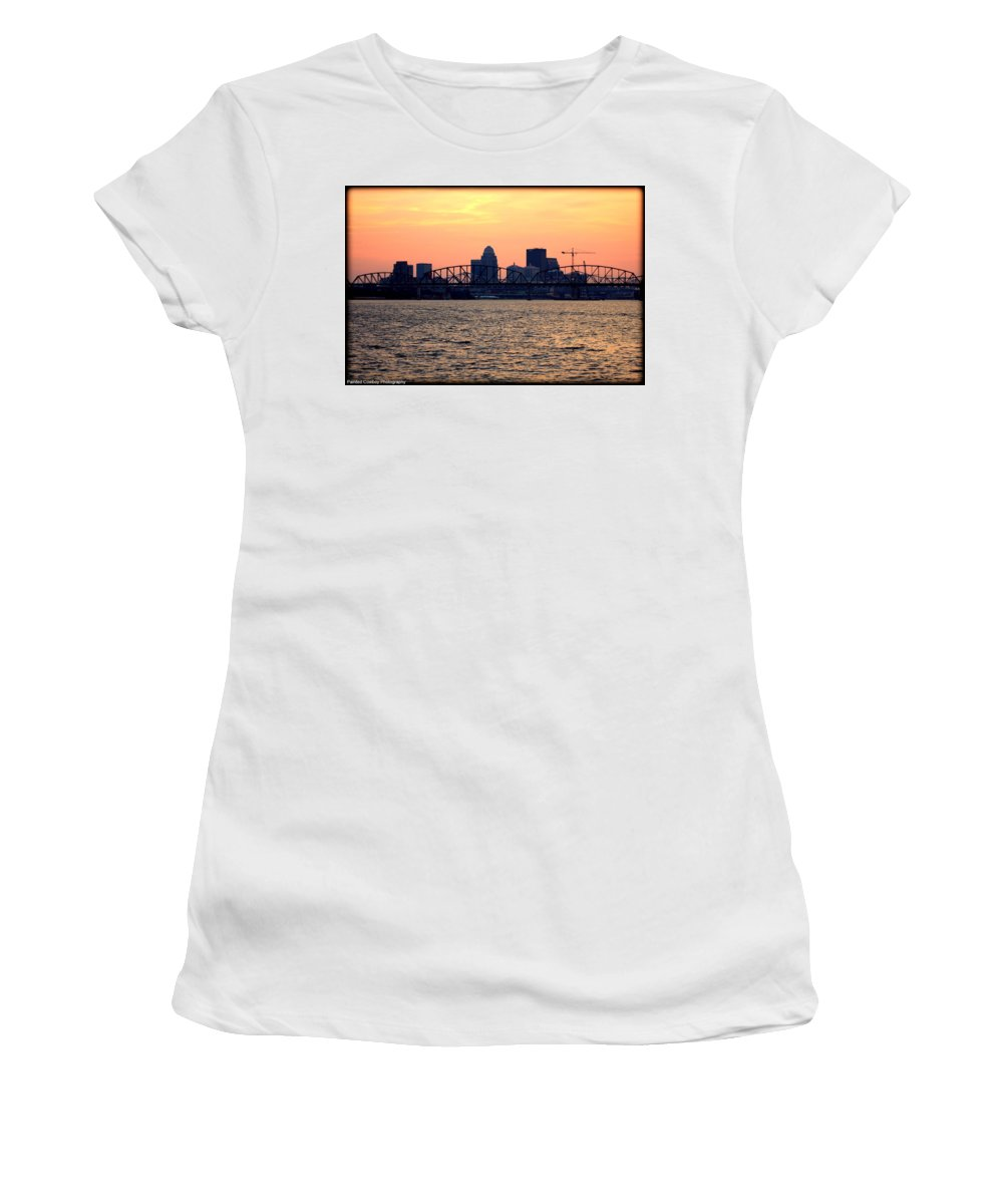 Boat Women's T-Shirt (Athletic Fit) featuring the photograph Louisville Sunset 3 by Daniel Jakus