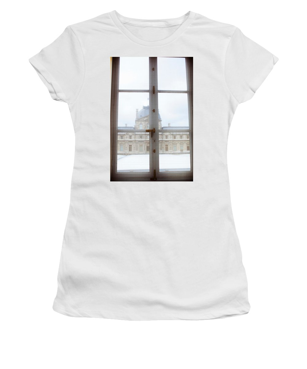 Photography Women's T-Shirt featuring the photograph Louvre Museum Viewed Through A Window by Panoramic Images