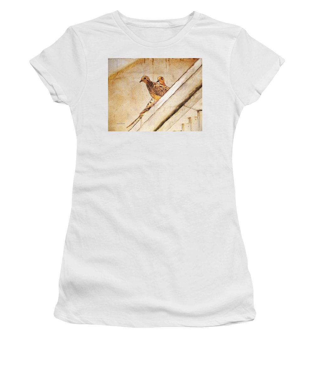 Mourning Doves Women's T-Shirt featuring the painting Love Birds On My Balcony by Angela Stanton