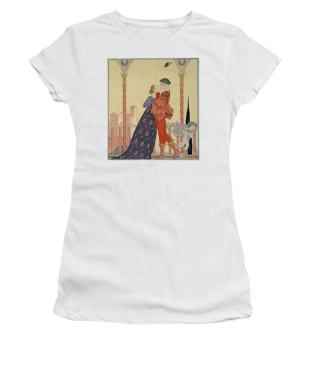 Lover Women's T-Shirt (Athletic Fit) featuring the painting Lovers On A Balcony by Georges Barbier
