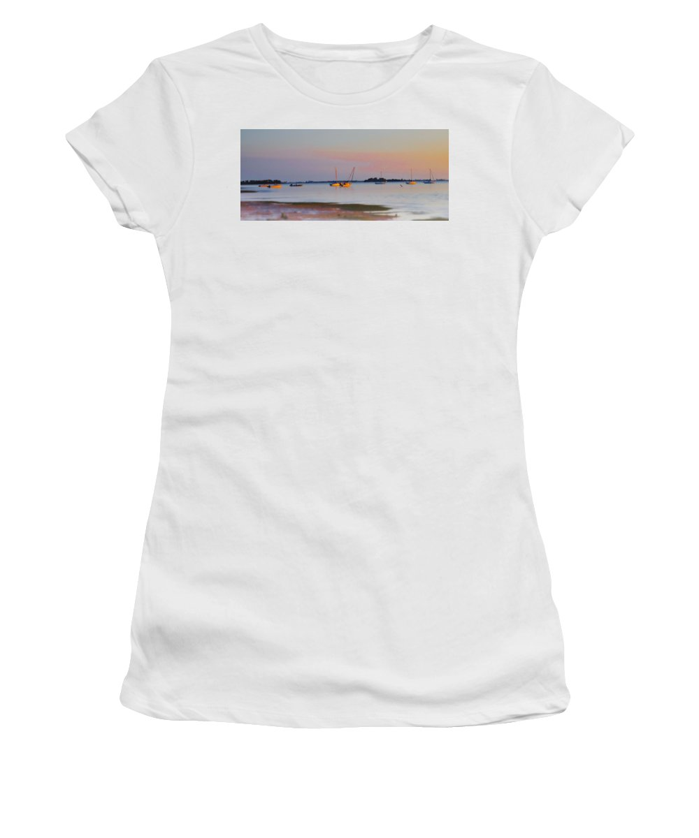 Low Women's T-Shirt (Athletic Fit) featuring the photograph Low Tide At Crystal Beach by Bill Cannon
