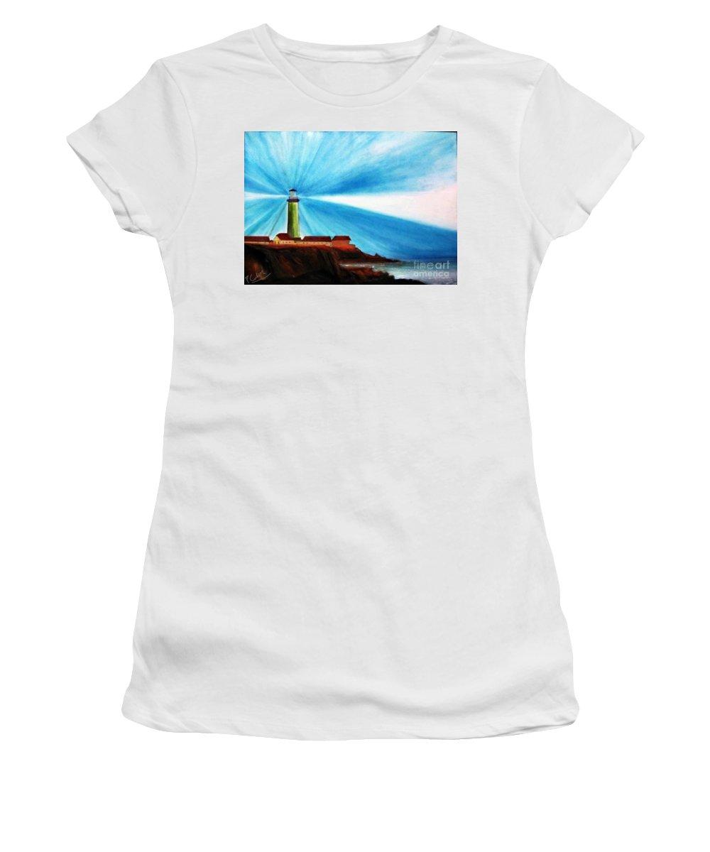 Piero C . Luci Del Faro - Lighthouse Flash - Original Oil Fine Art Paintings Women's T-Shirt (Athletic Fit) featuring the painting Luci Del Faro by Piero C