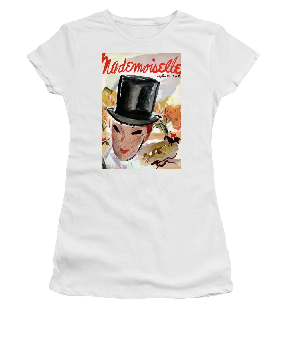 Illustration Women's T-Shirt featuring the photograph Mademoiselle Cover Featuring A Female Equestrian by Helen Jameson Hall