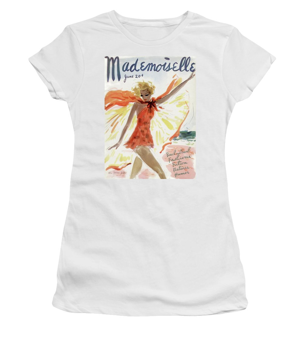 Illustration Women's T-Shirt featuring the painting Mademoiselle Cover Featuring A Model At The Beach by Helen Jameson Hall