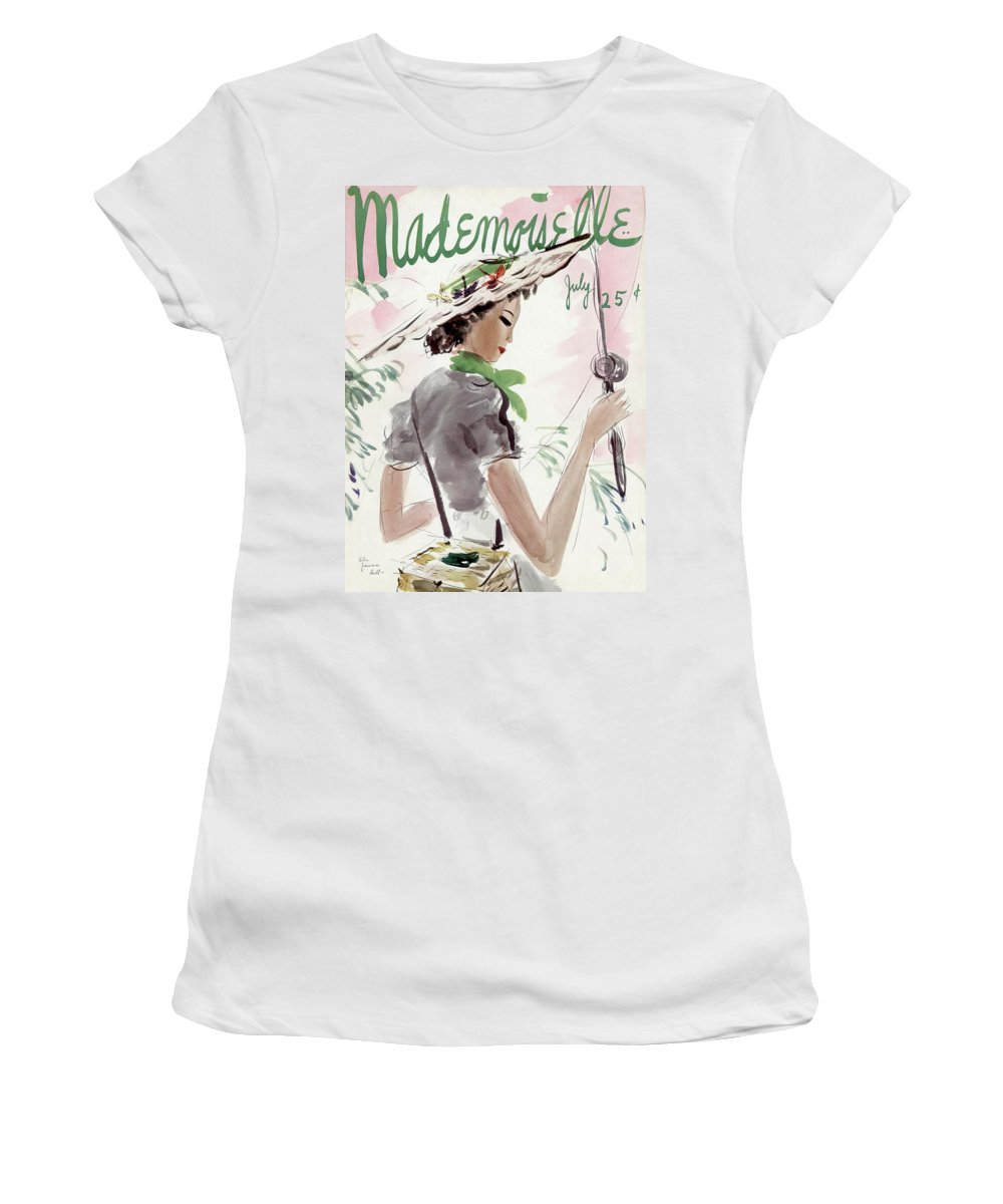 Illustration Women's T-Shirt featuring the photograph Mademoiselle Cover Featuring A Woman Holding by Helen Jameson Hall