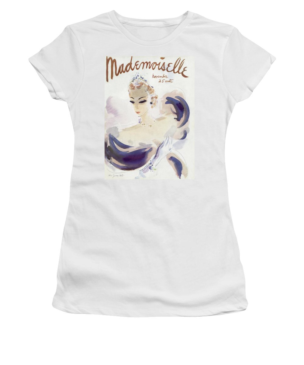 Fashion Women's T-Shirt featuring the photograph Mademoiselle Cover Featuring A Woman In A Gown by Helen Jameson Hall