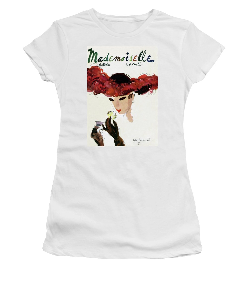 Illustration Women's T-Shirt featuring the photograph Mademoiselle Cover Featuring A Woman In A Red by Helen Jameson Hall