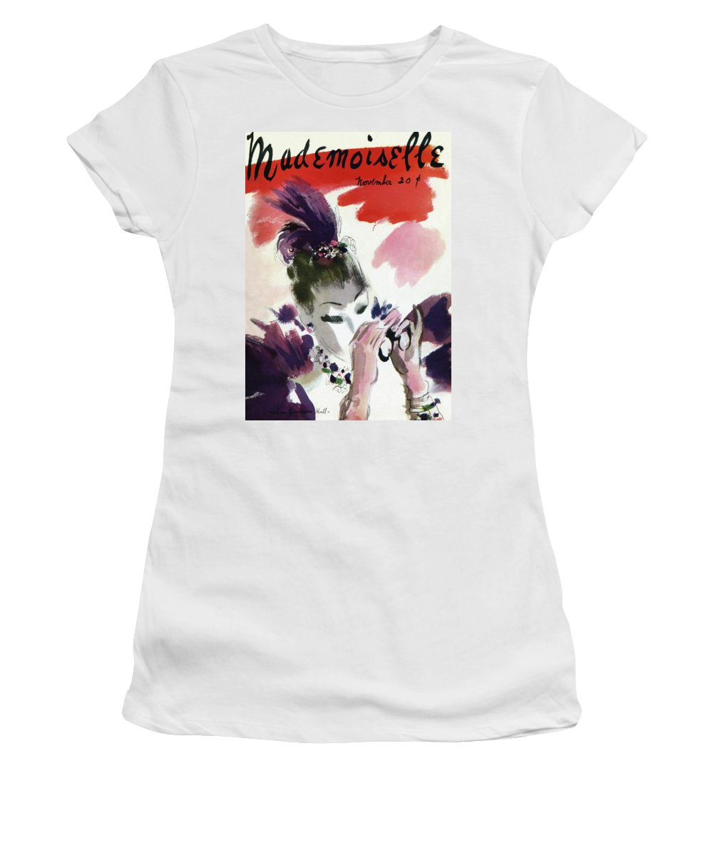 Illustration Women's T-Shirt featuring the photograph Mademoiselle Cover Featuring A Woman Looking by Helen Jameson Hall