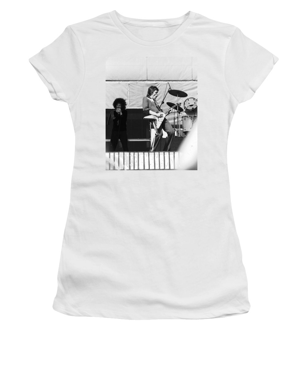 Magic Dick Women's T-Shirt (Athletic Fit) featuring the photograph Magic Dick And J. Geils In Oakland 1976 by Ben Upham