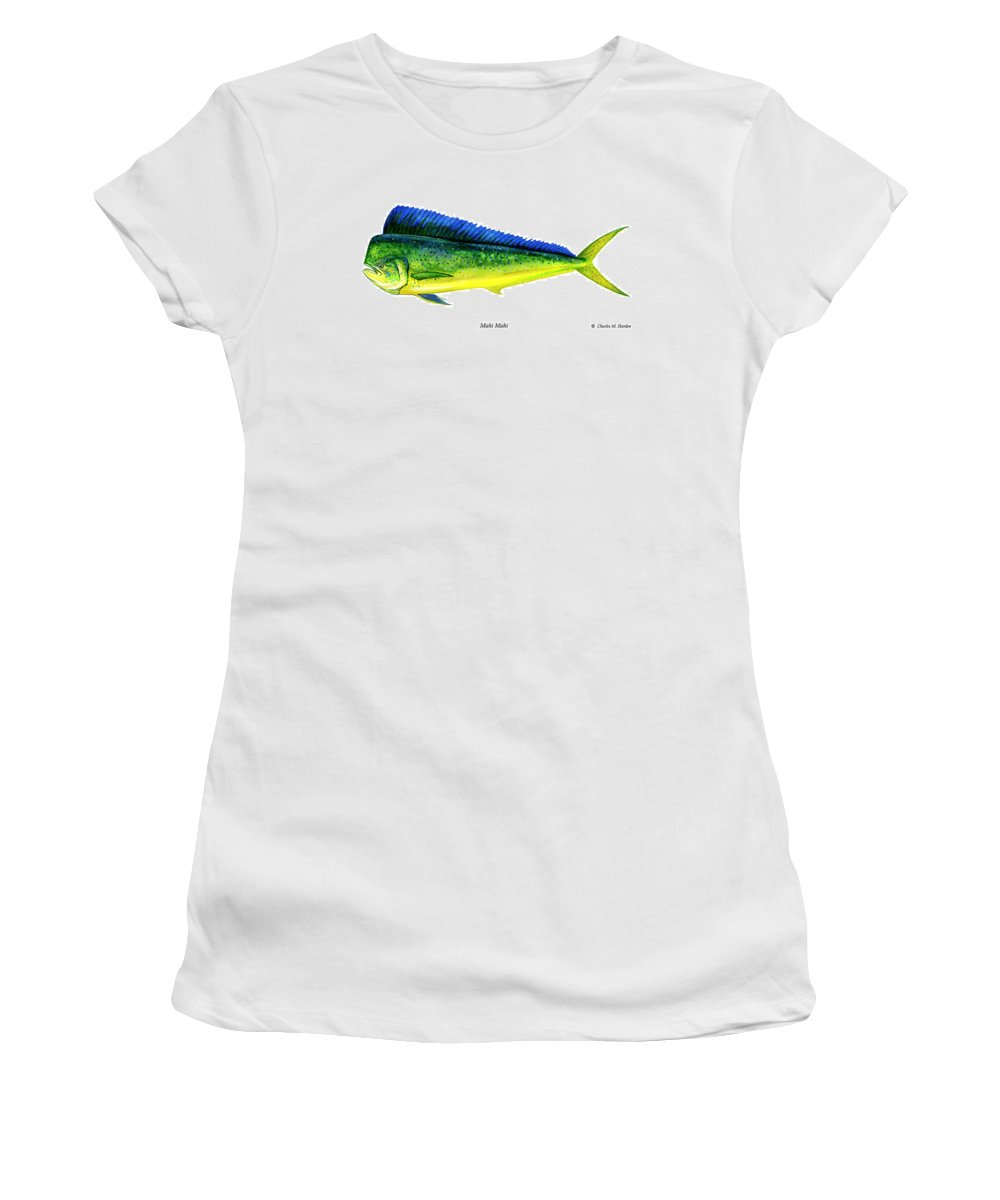Charles Women's T-Shirt (Athletic Fit) featuring the painting Mahi Mahi by Charles Harden