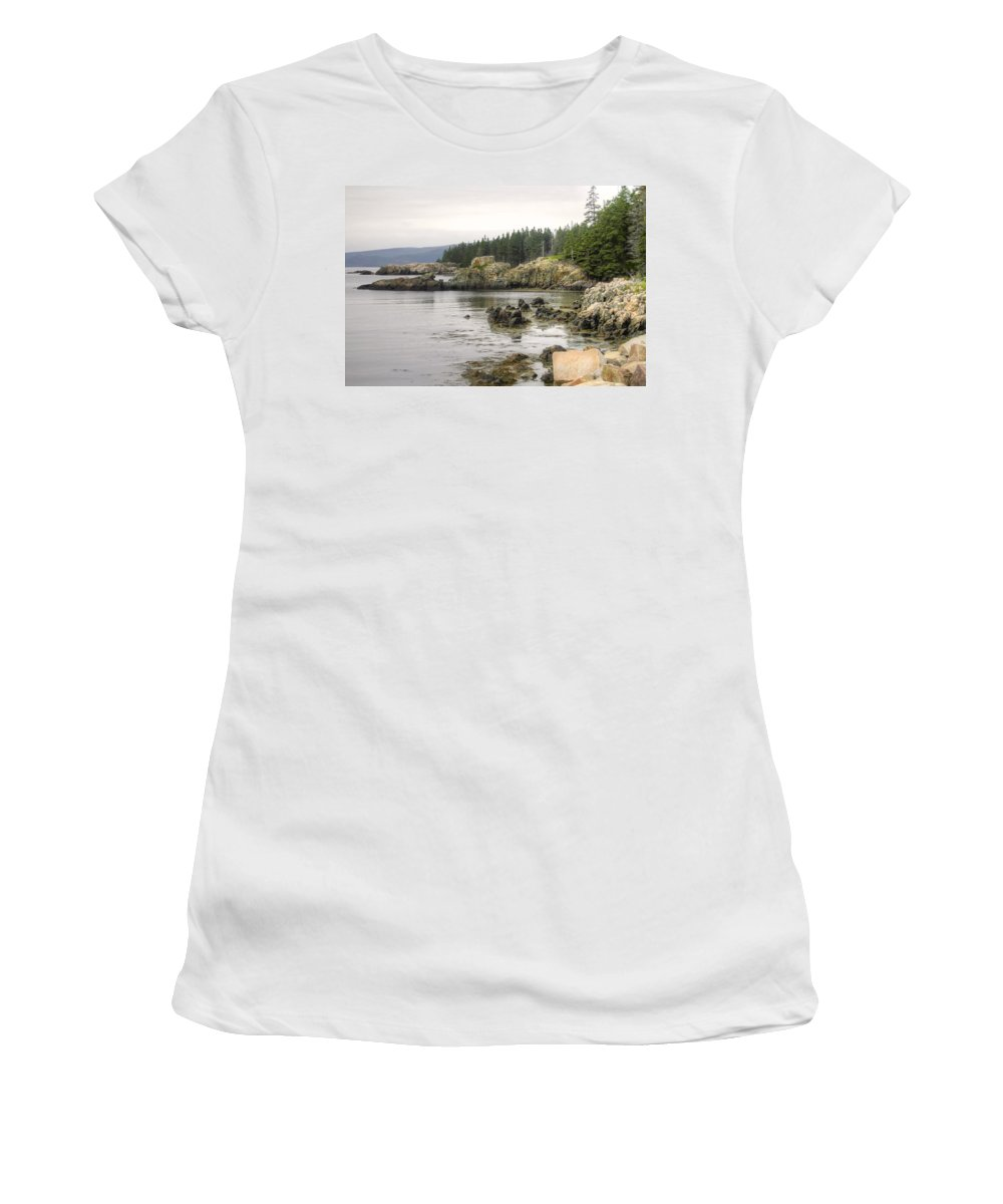 Denyse Duhaime Photography Women's T-Shirt (Athletic Fit) featuring the photograph Maine's Beautiful Rocky Shore by Denyse Duhaime