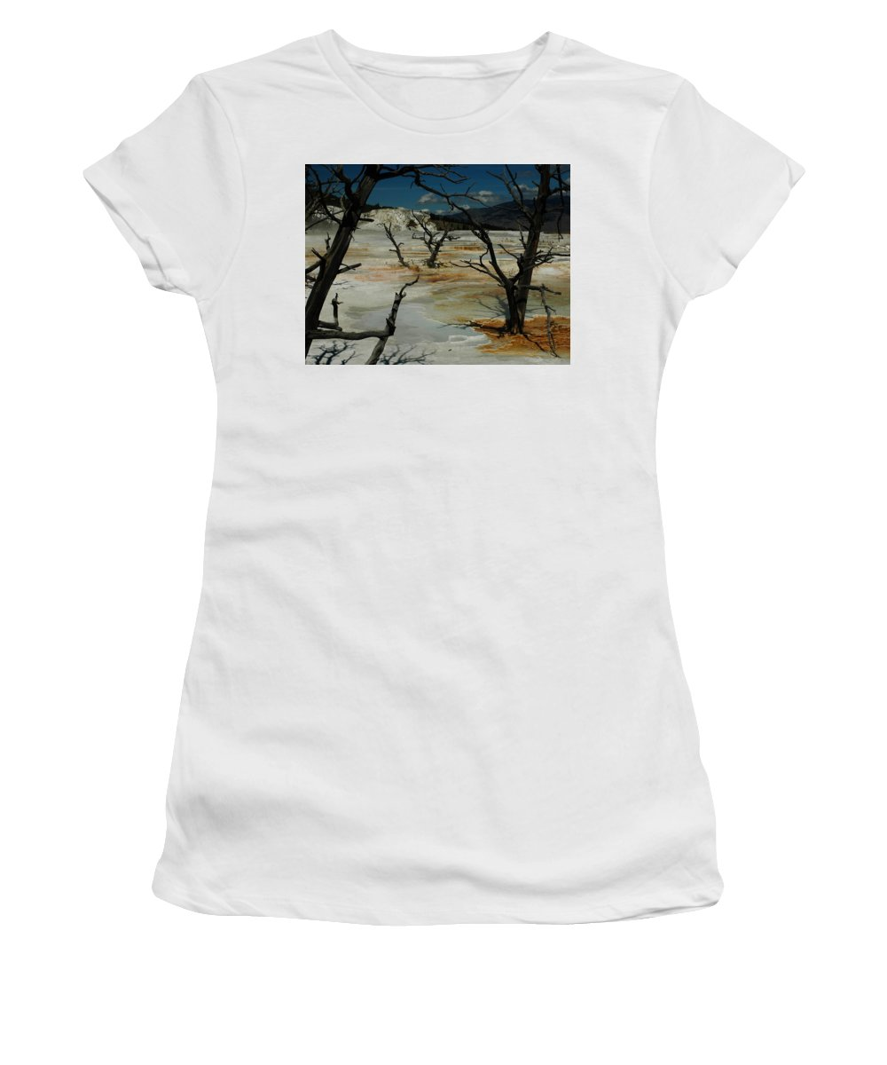 Yellowstone Women's T-Shirt (Athletic Fit) featuring the photograph Mammoth Springs by Michael Kirk