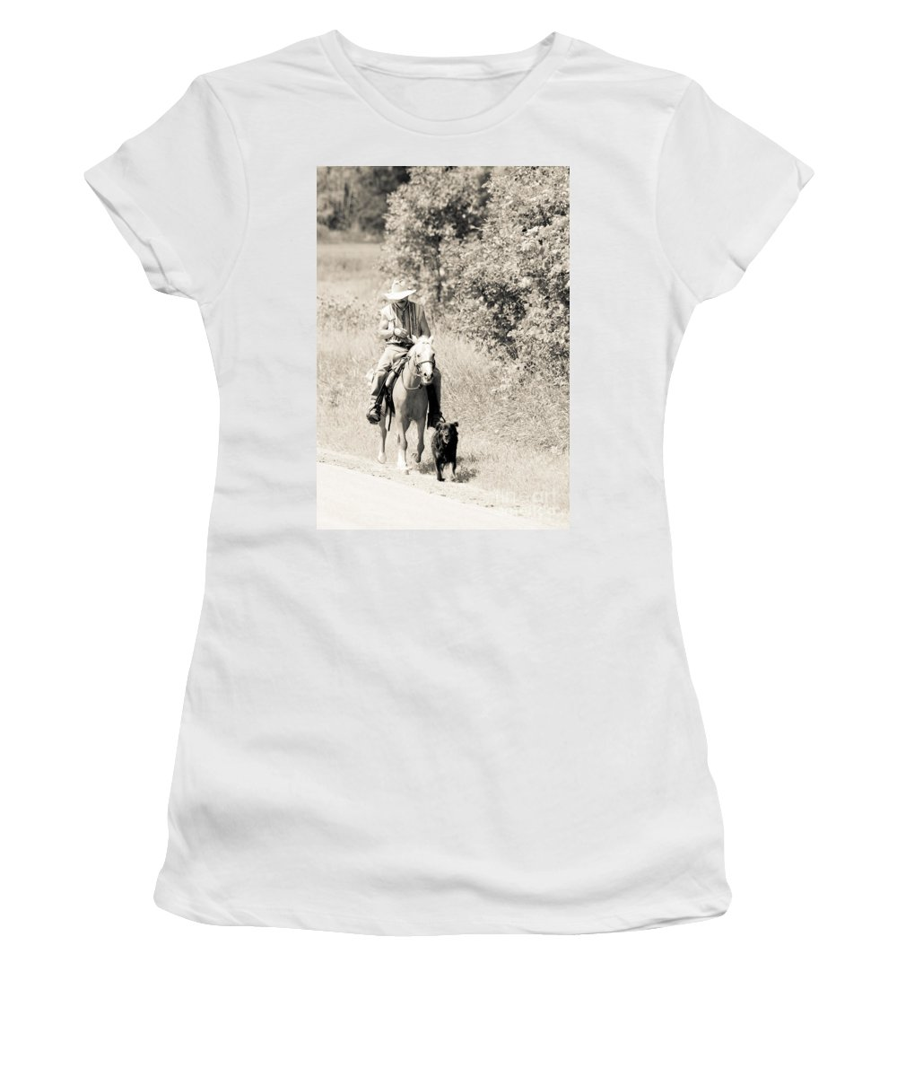 Rustic Scene Women's T-Shirt featuring the photograph Man Horse And Dog by Cheryl Baxter