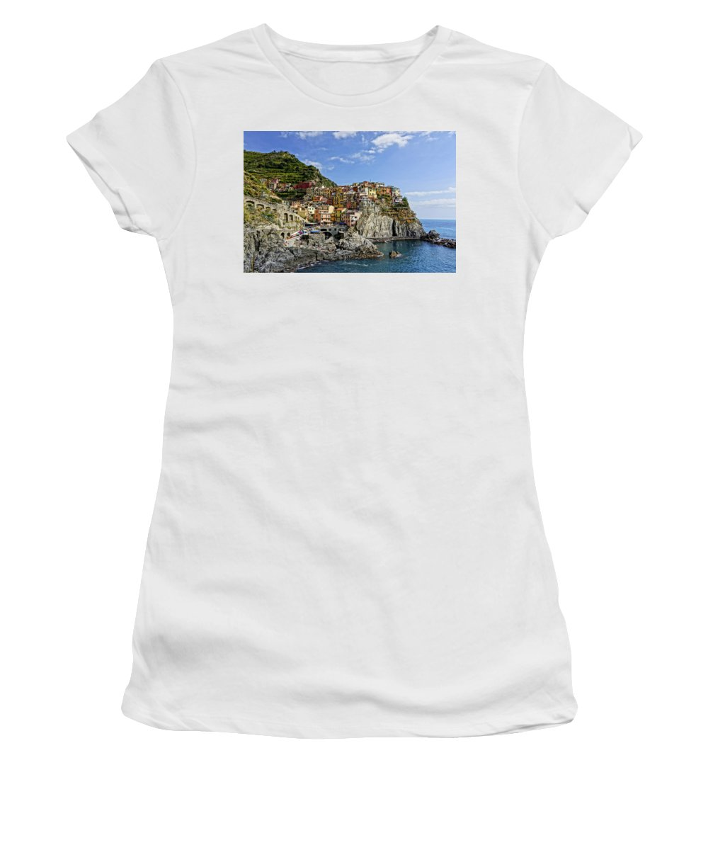 Cinque Terre Women's T-Shirt (Athletic Fit) featuring the photograph Manarola Italy Dsc02563 by Greg Kluempers
