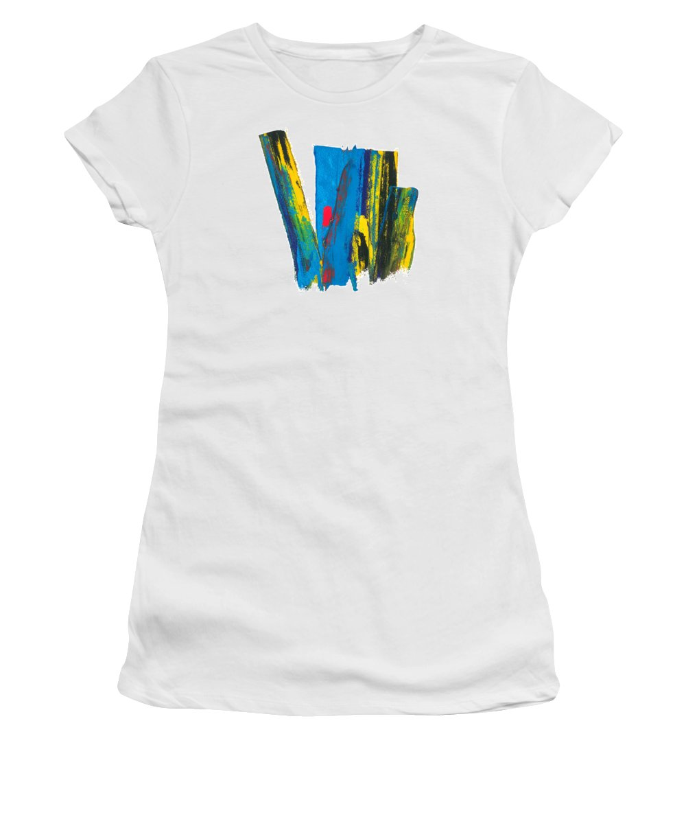 Contemporary Women's T-Shirt (Athletic Fit) featuring the painting Manhattan Skyline by Bjorn Sjogren