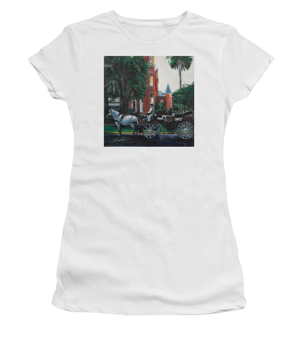 Women's T-Shirt (Athletic Fit) featuring the painting Mansion On Forsythe Savannah Georgia by Jude Darrien