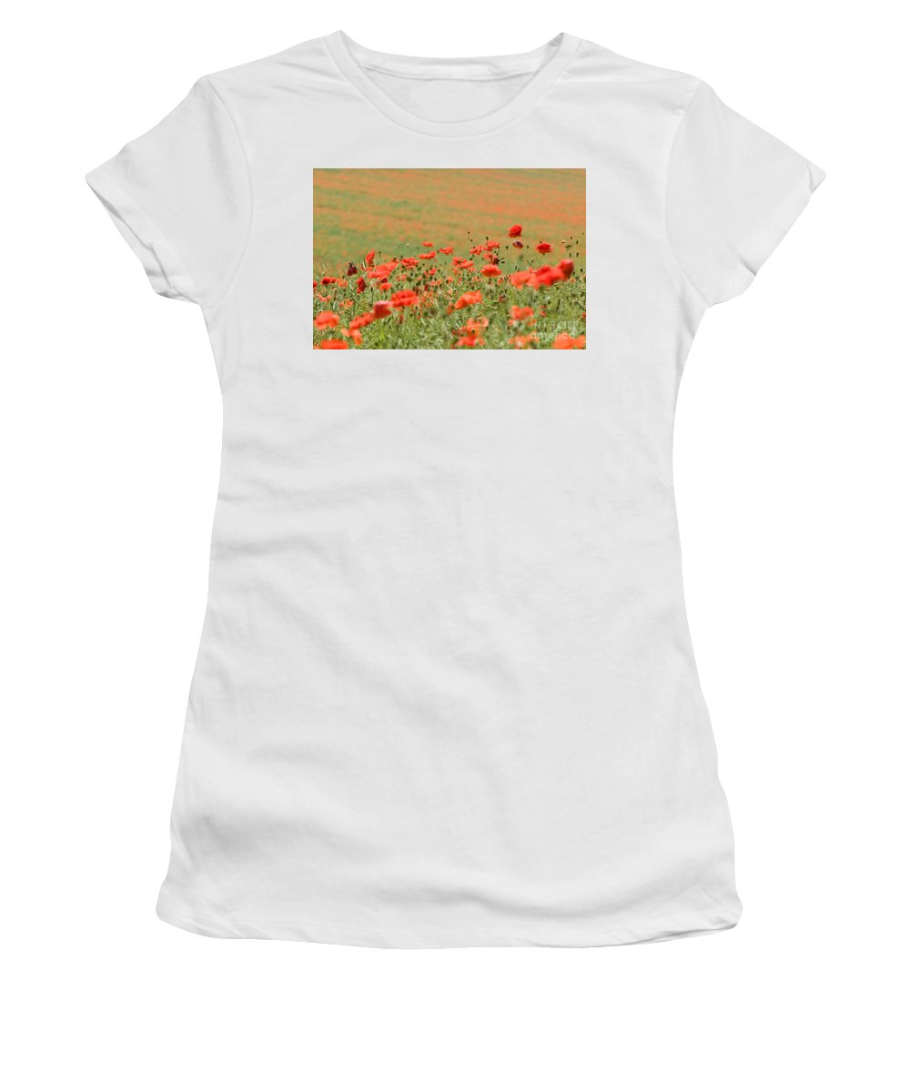 Annual Women's T-Shirt (Athletic Fit) featuring the photograph Many Poppies by Anne Gilbert