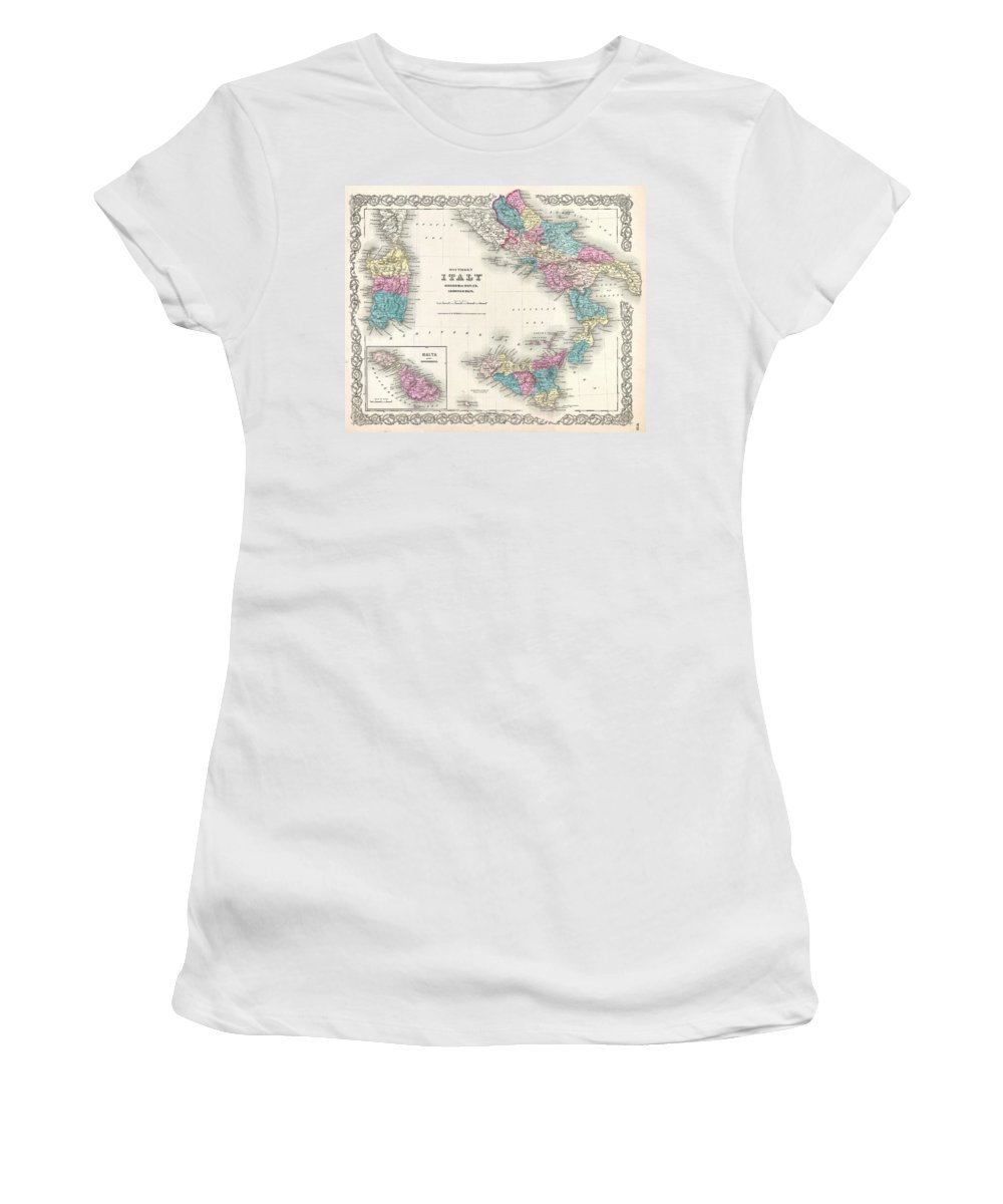 Women's T-Shirt featuring the photograph Map Of Southern Italy Sicily Sardinia And Malta by Paul Fearn