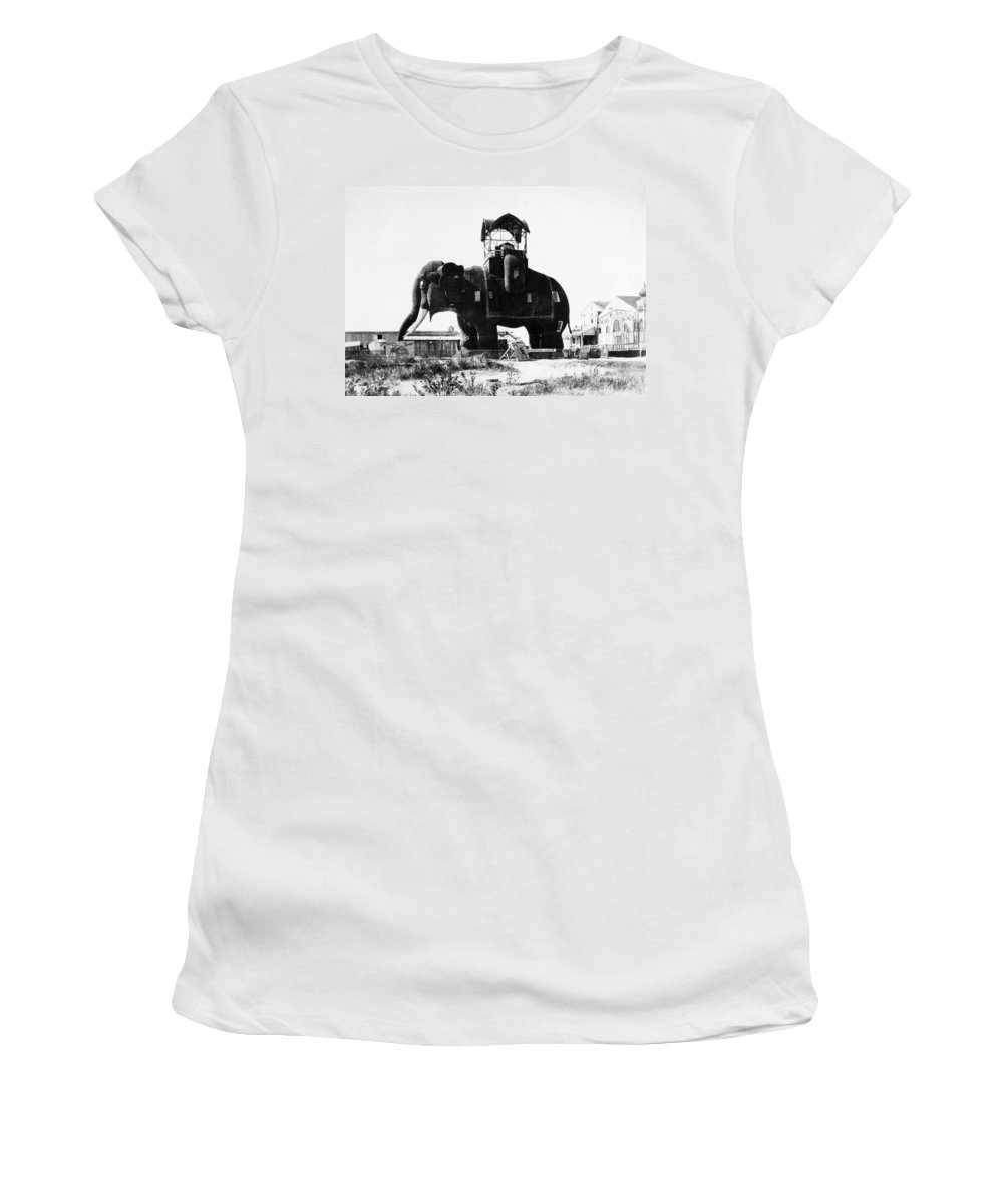 1890 Women's T-Shirt (Athletic Fit) featuring the photograph Margate Elephant, C1900 by Granger