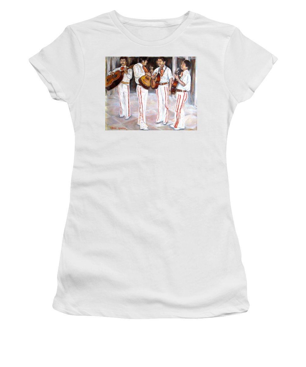 Mariachis Women's T-Shirt (Athletic Fit) featuring the painting Mariachi Musicians by Carole Spandau