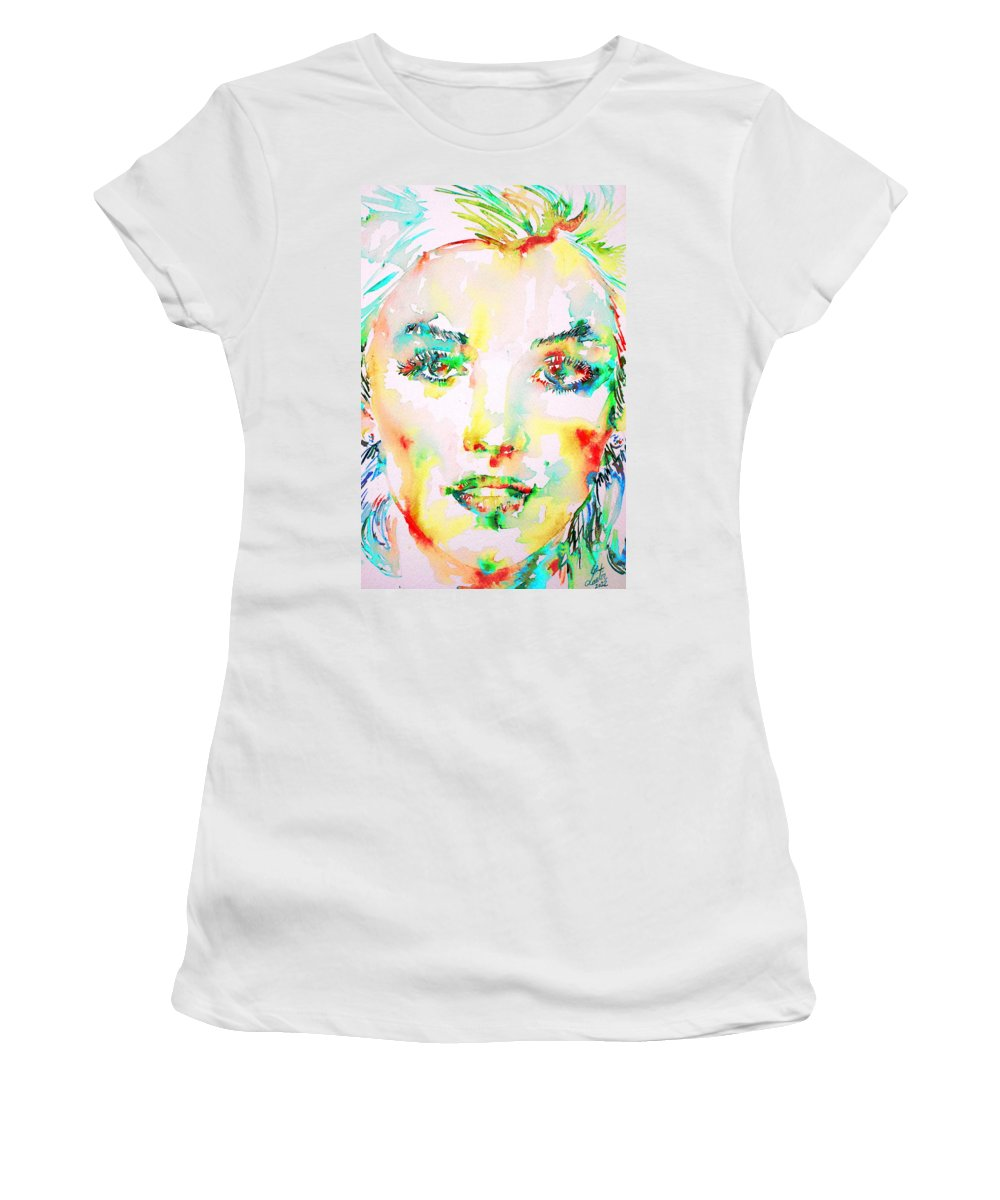 Marilyn Women's T-Shirt (Athletic Fit) featuring the painting Marilyn Monroe Portrait.5 by Fabrizio Cassetta