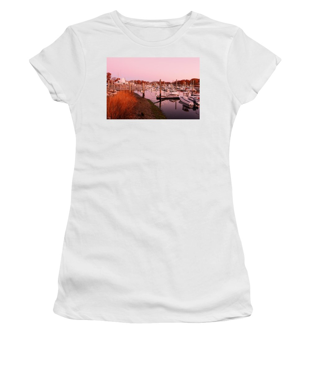 Warwick Women's T-Shirt (Athletic Fit) featuring the photograph Marina Sunrise by Lourry Legarde