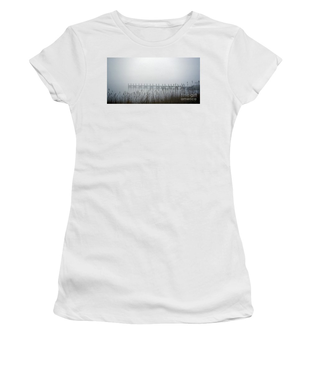 Scenic Tours Women's T-Shirt (Athletic Fit) featuring the photograph Marsh Dock by Skip Willits