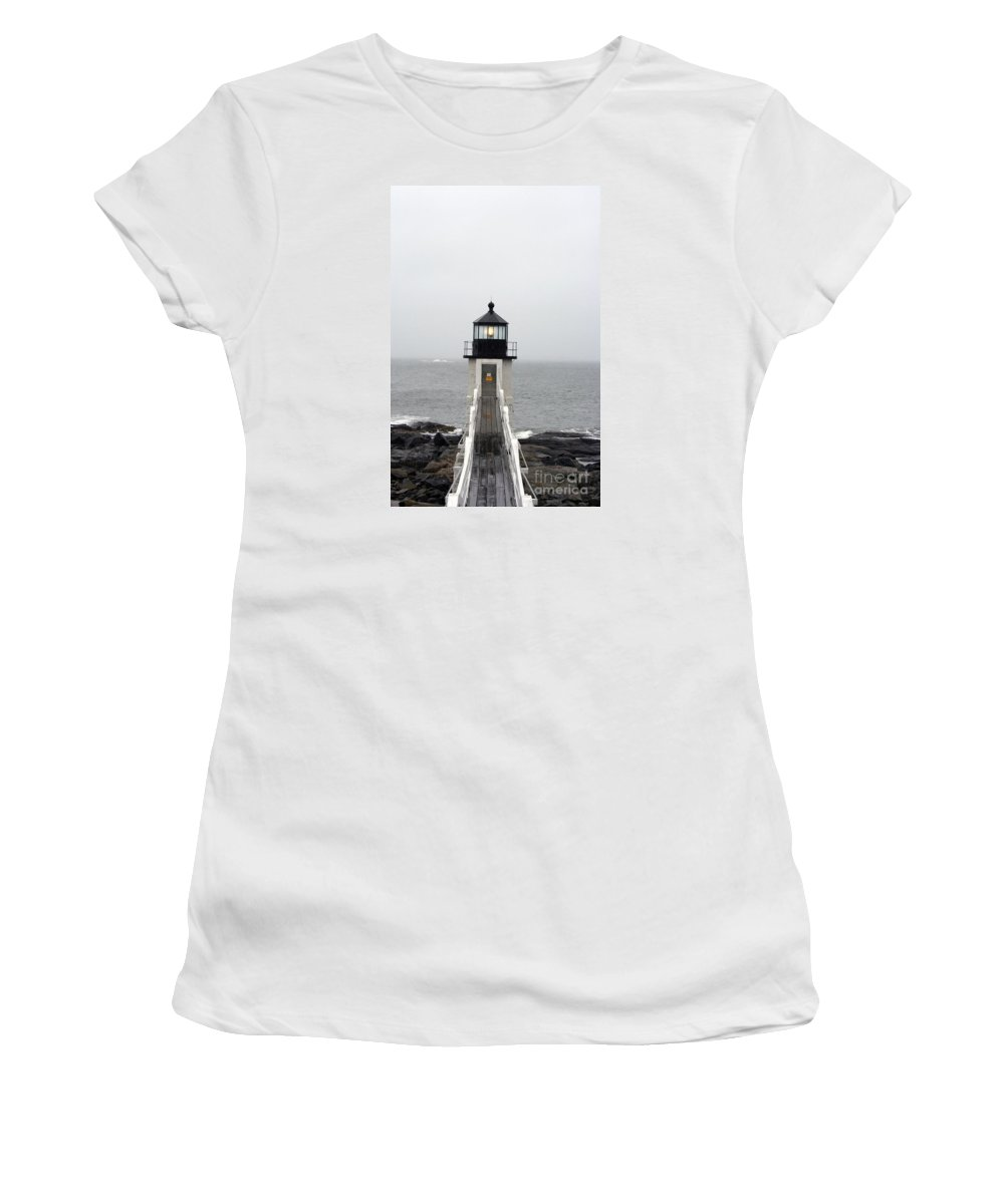 Lighthouse Women's T-Shirt featuring the photograph Marshall Point Light On A Foggy Day by Christiane Schulze Art And Photography