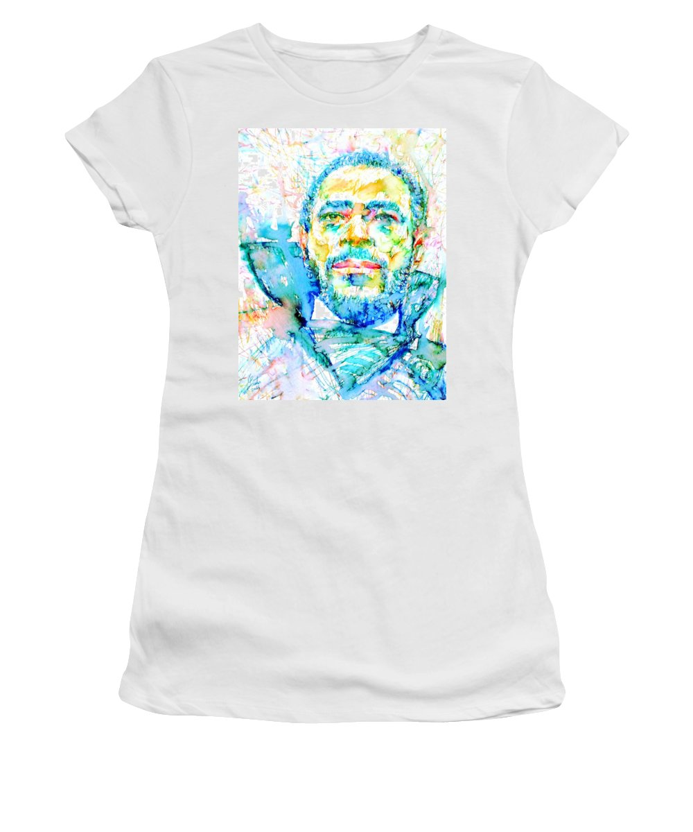 Marvin Gaye Women's T-Shirt featuring the painting Marvin Gaye - Portrait by Fabrizio Cassetta