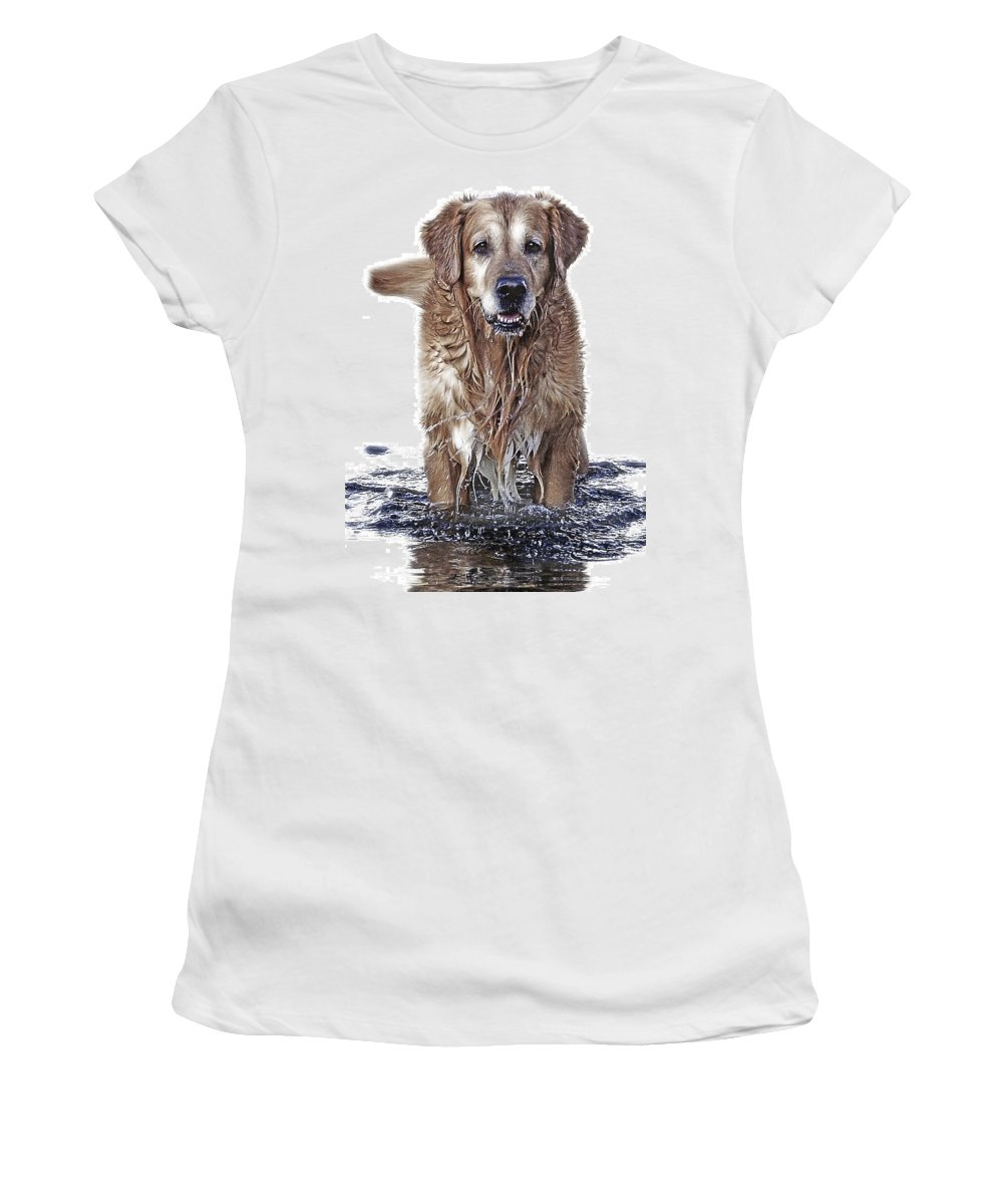 Dog Women's T-Shirt (Athletic Fit) featuring the photograph Master Of Wet Elements by Joachim G Pinkawa