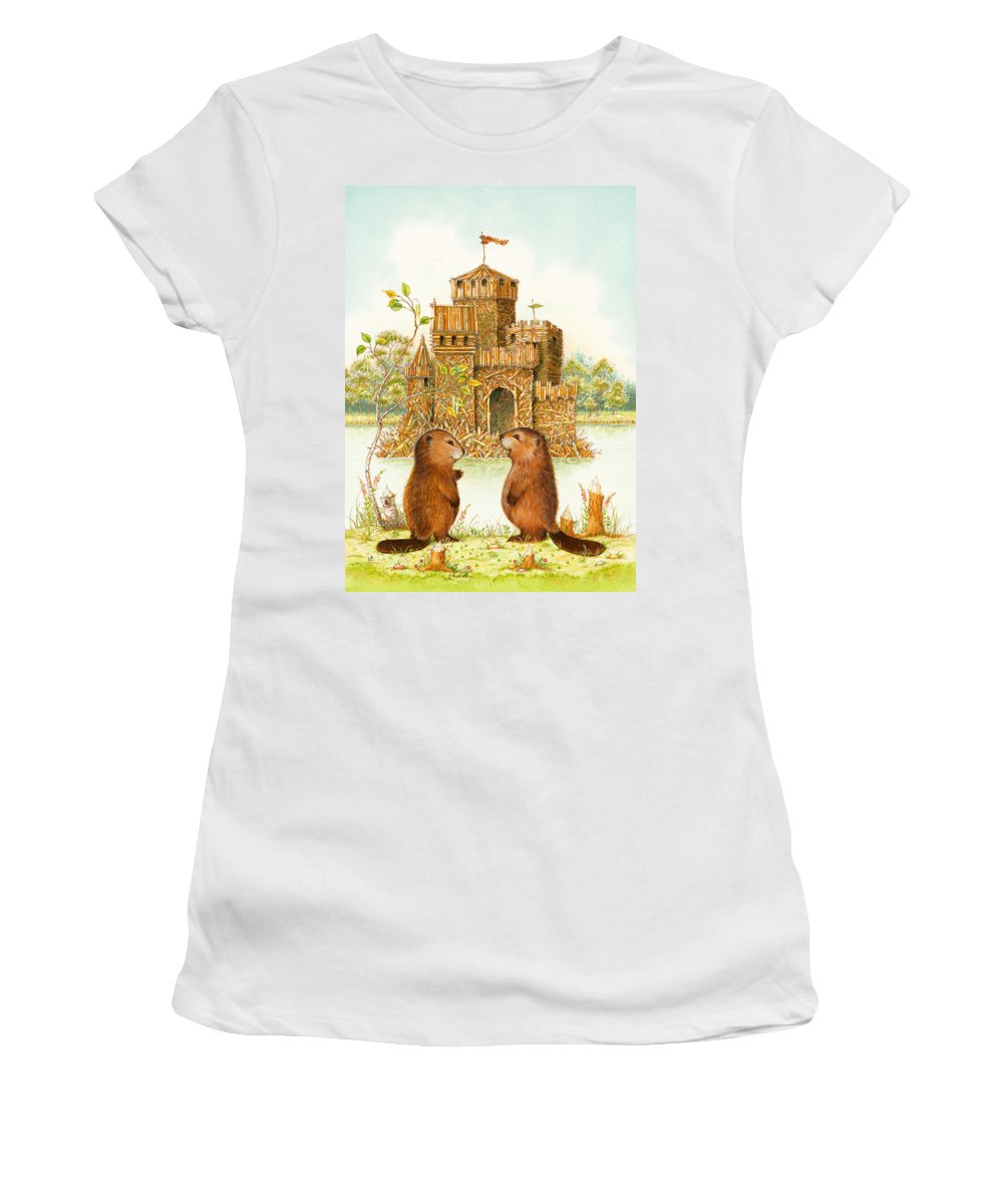Beavers Women's T-Shirt featuring the painting Mclodge by Lynn Bywaters