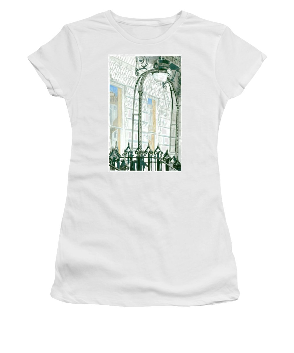 Scotland Women's T-Shirt (Athletic Fit) featuring the painting Mellvile Street Doorway by Iain Galloway