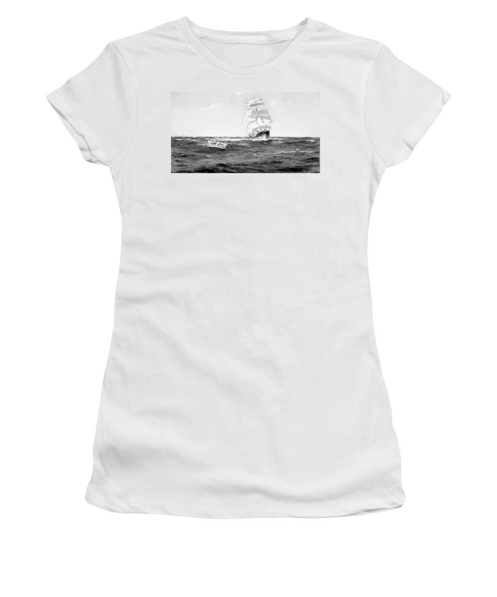 1899 Women's T-Shirt (Athletic Fit) featuring the painting Merchant Ship, 1899 by Granger