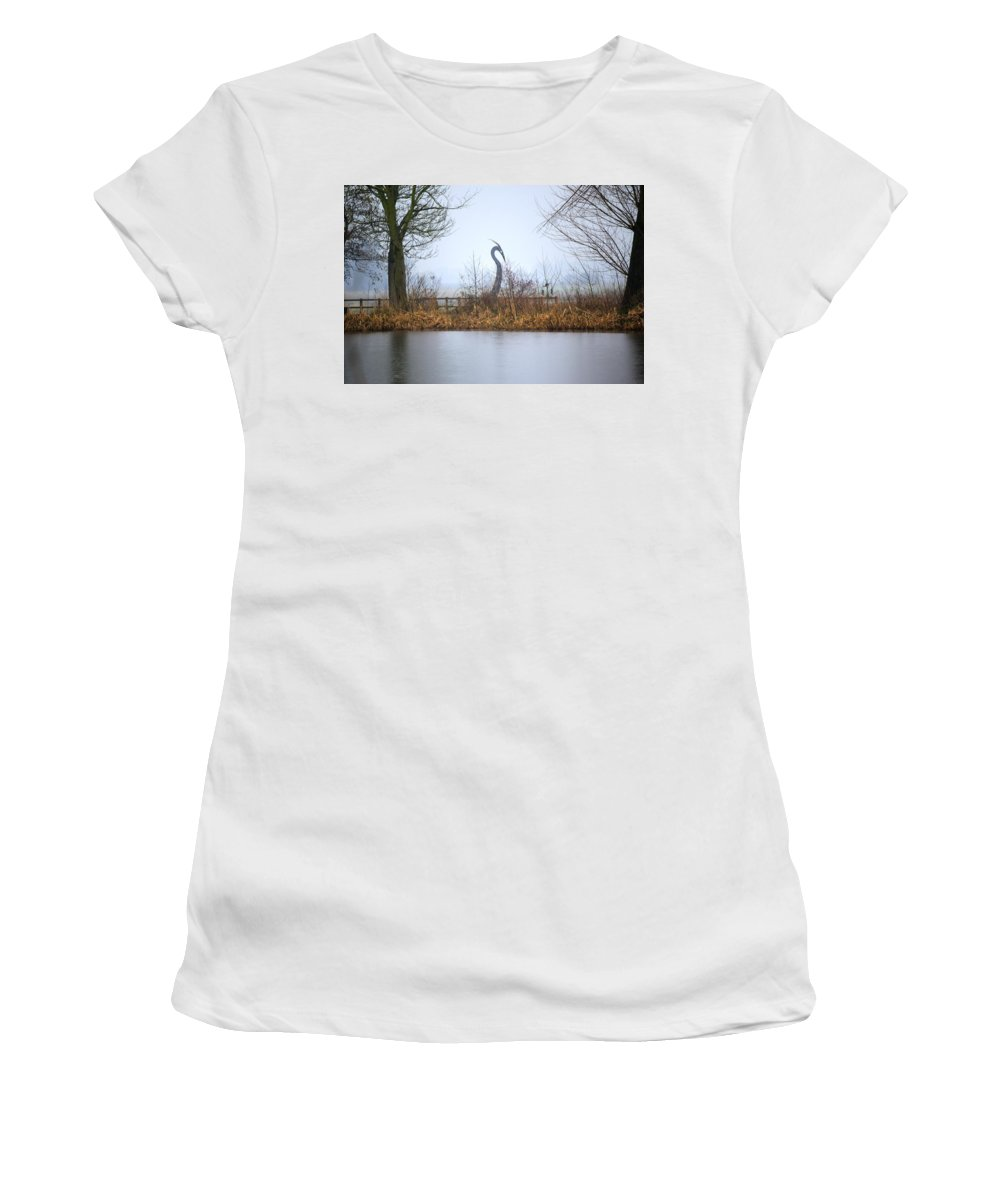 Wetlands Women's T-Shirt (Athletic Fit) featuring the photograph Metal Heron by Spikey Mouse Photography
