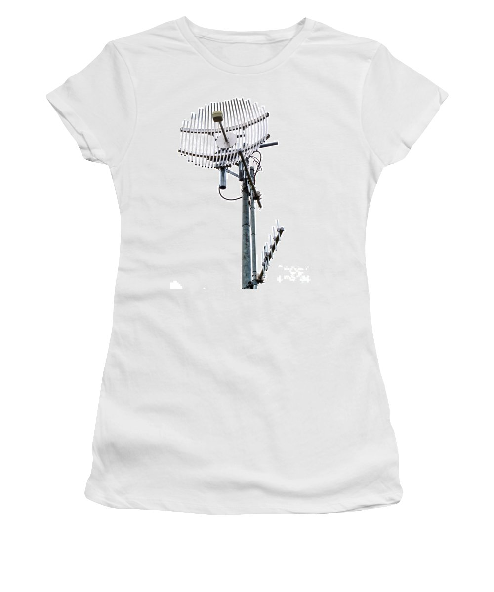 Aerial Women's T-Shirt featuring the photograph Metal Telecom Tower And Antennas Isolated On White by Stephan Pietzko