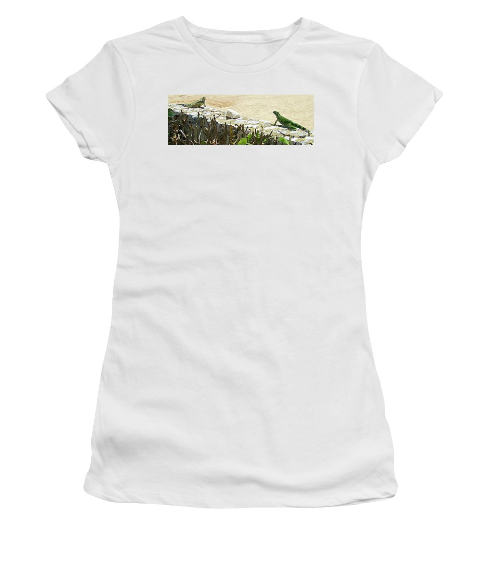 Lizards Women's T-Shirt featuring the painting Mexican Stand Off by John Malone