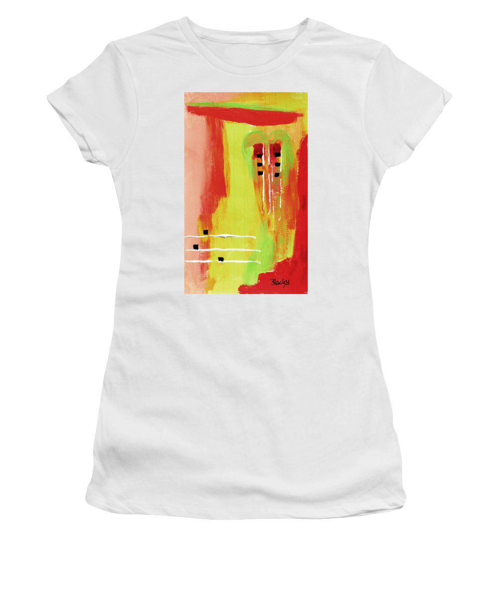 Mexico Women's T-Shirt (Athletic Fit) featuring the painting Mexico City by Donna Blackhall