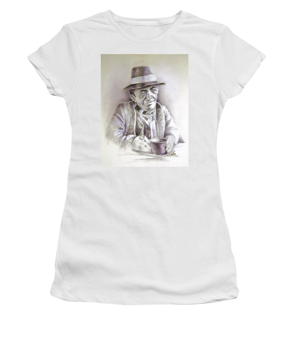 Portrait Michael Anderson Women's T-Shirt (Athletic Fit) featuring the painting Michael J Anderson by Miki De Goodaboom