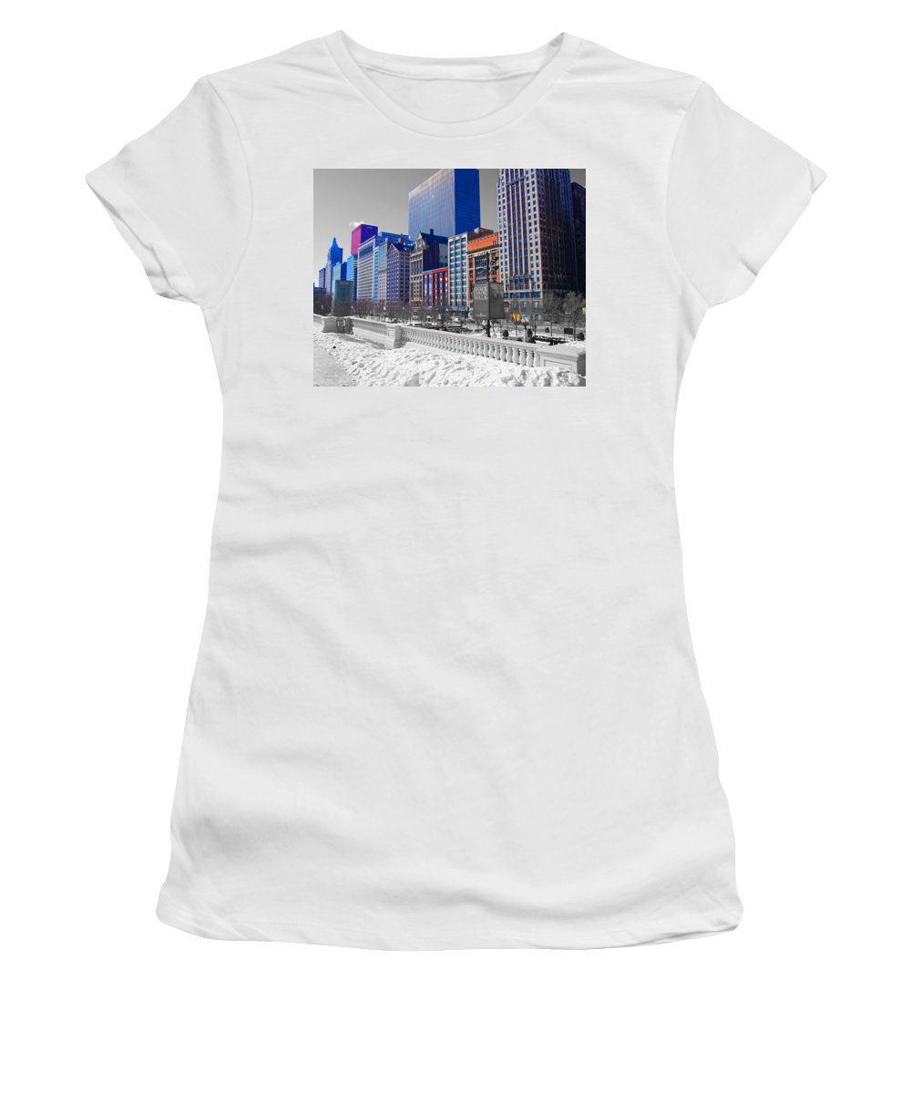 Chicago Women's T-Shirt (Athletic Fit) featuring the photograph Michigan Wall by Rick Selin
