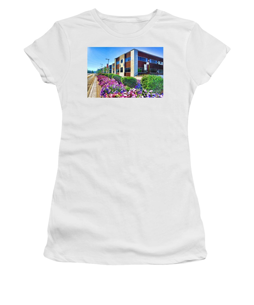 Geis Brothers Women's T-Shirt (Athletic Fit) featuring the photograph Geis Midtown Tech Park - Cleveland Ohio by Mark Madere