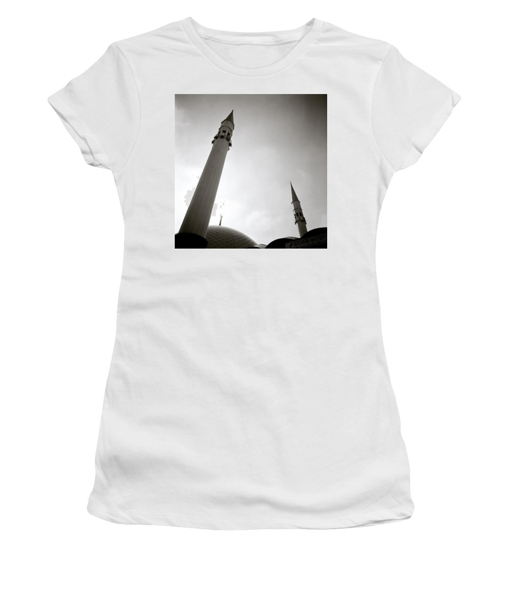 Sunset Women's T-Shirt (Athletic Fit) featuring the photograph Minarets At Dusk by Shaun Higson