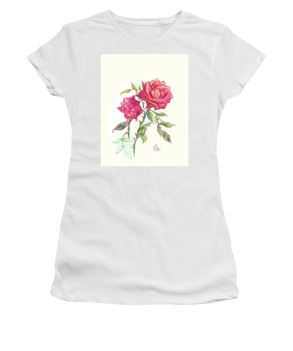 Nature Women's T-Shirt (Athletic Fit) featuring the painting Minature Red Rose by Kip DeVore