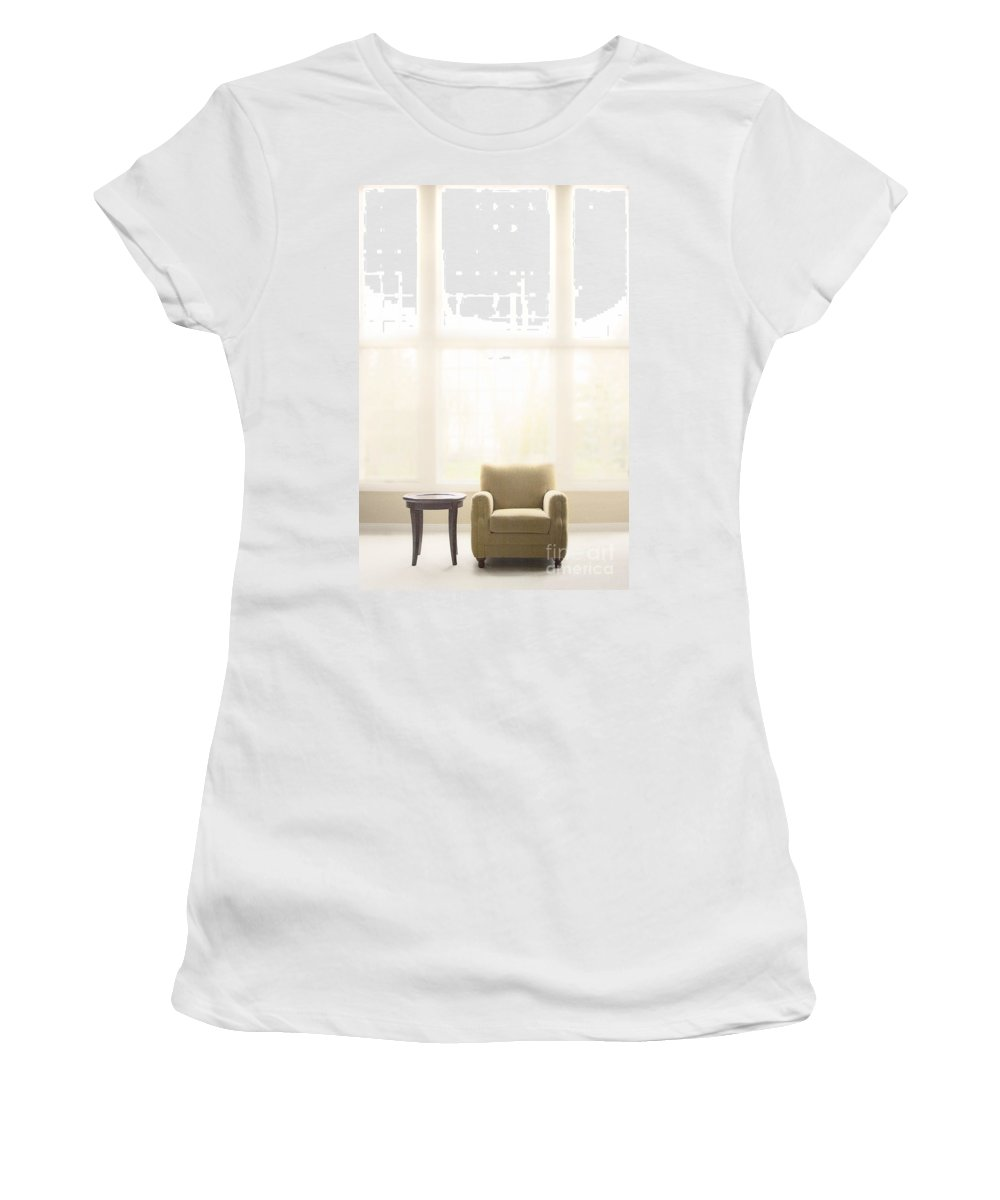 Chair; Table; Carpet; Room; Living Room; Family Room; Furniture; Windows; Tall; Minimal; Minimalist; Small; Empty; No One; Plain Women's T-Shirt (Athletic Fit) featuring the photograph Minimal by Margie Hurwich